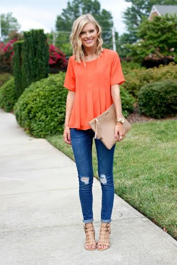Outfit details: Orange top available at Topshop (Century City); Nude heels (Foschini ); Jeans (Witchery V&A waterfront).